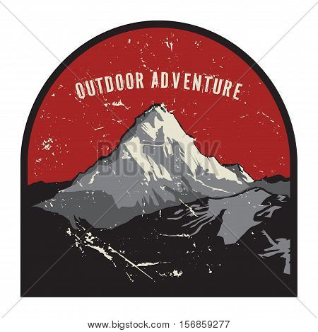 Mountains badge or emblem. Adventure outdoor expedition mountain badge climbing mountain snowy peak mountain label with text Outdoor Adventure vector illustration