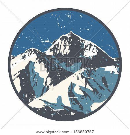 Mountains badge or emblem. Adventure outdoor expedition mountain badge climbing mountain snowy peak mountain label vector illustration