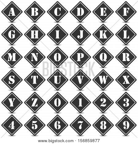 Collection of 36 isolated black and white icons (buttons) on white background with shadows - alphabet (letters) and numerals