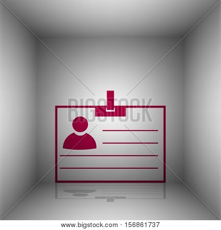 Id Card Sign. Bordo Icon With Shadow In The Room.