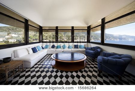 large living-room with white sofa and panoramic view