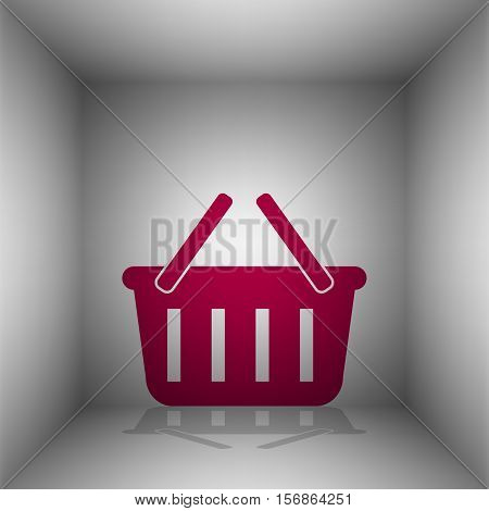 Shopping Basket Sign. Bordo Icon With Shadow In The Room.