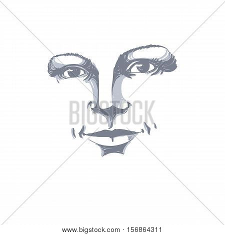 Monochrome hand-drawn silhouette of romantic woman face delicate features.