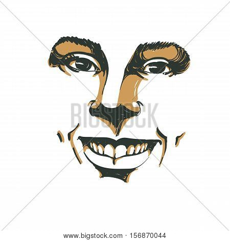 Facial expression hand-drawn illustration of face of girl with positive emotional expressions. Beautiful features of lady visage.