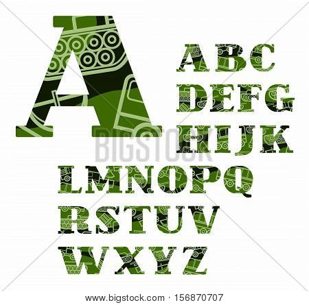 English alphabet, military equipment, uppercase, vector, font, color. Green, capital letters of the English alphabet with linear images of military equipment. Letters with serifs. Military disguise.