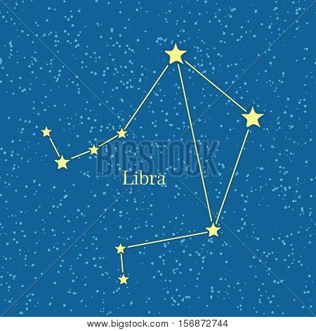Night sky with Libra constellation. Vector illustration. Traditional zodiacal sign on celestial sphere marked bright stars and lines. For astrological, astronomical, educational, science concepts