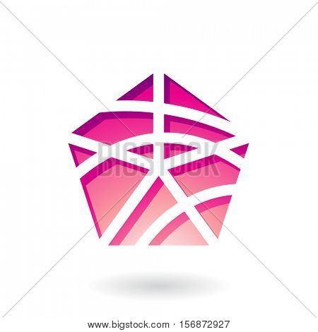 Vector Illustration of a Pentagon Shaped Abstract Icon isolated on a white background