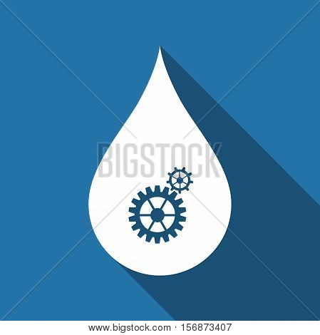 Water drop with gears. Abstract concept for ecology theme green eco energy technology and industry flat icon with long shadow. Vector Illustration