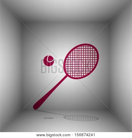 Tennis Racquet Sign. Bordo Icon With Shadow In The Room.