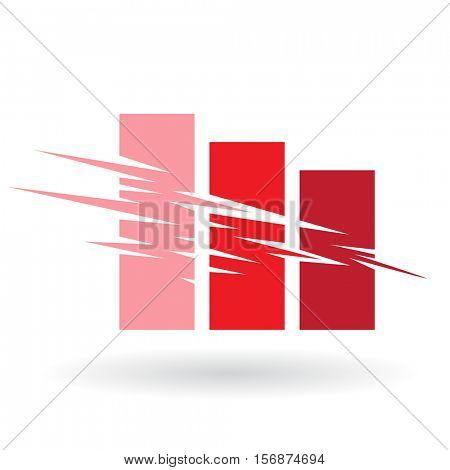 Vector Illustration of Falling Stats Abstract Icon isolated on a white background