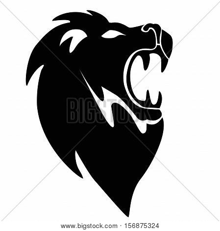 Lion head vector sign concept illustration. Lion head silhouette. Lion logo cartoon vector illustration. Eps10. Isolated on a white background.