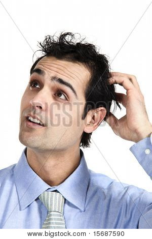 close-up of young businessman, isolated on white background