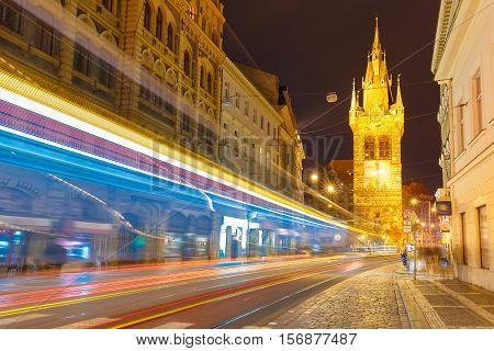Luminous track from the tram near Jindrisska Tower in Old Town of Prague, Czech Republic