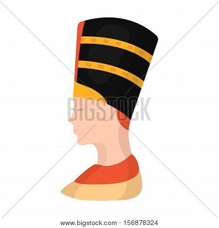 Bust of Nefertiti icon in cartoon style isolated on white background. Ancient Egypt symbol vector illustration.