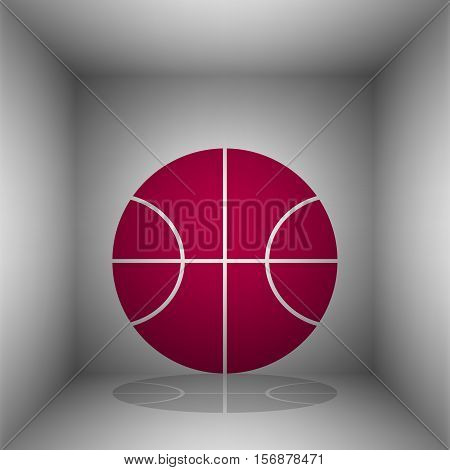 Basketball ball sign illustration. Bordo icon with shadow in the room.