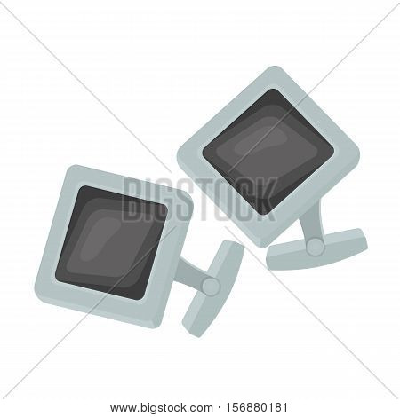 Cufflinks icon in cartoon style isolated on white background. Jewelry and accessories symbol vector illustration.
