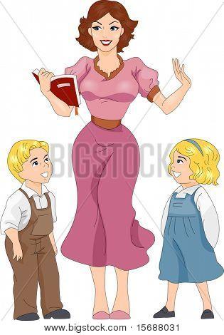 Ilustración de una chica Pin-up vestida como un maestro