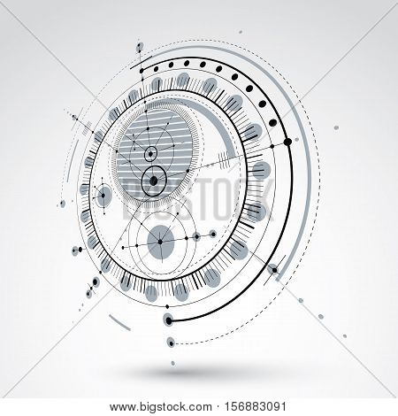 Technical blueprint black and white vector digital background with geometric design elements circles. 3d illustration of engineering system perspective abstract technological backdrop.