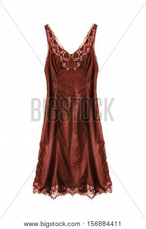 Vintage brown satin nightgown on white background