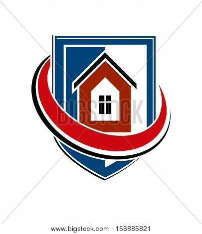 Home Insurance Conceptual Icon, Protection Shield With Vector Simple House. Design Element, Construc