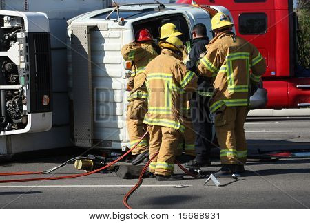 Emergency workers on the scene of a car accident