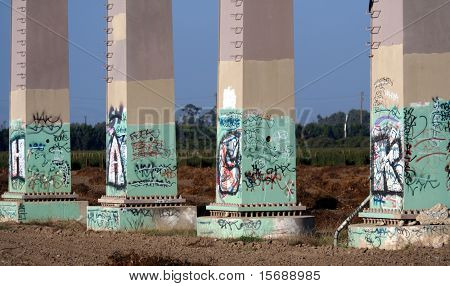 Graffiti on base of power lines