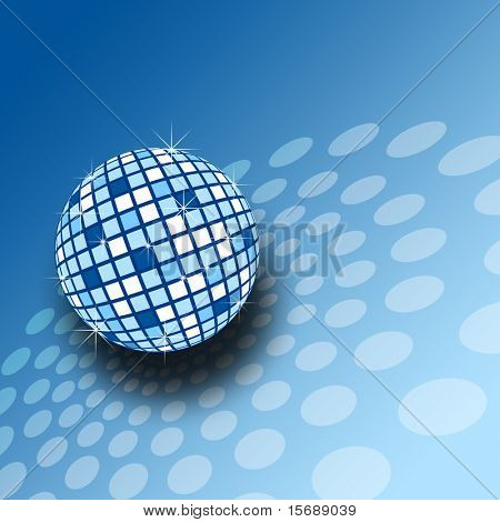 A sparkly blue mirrorball illustration