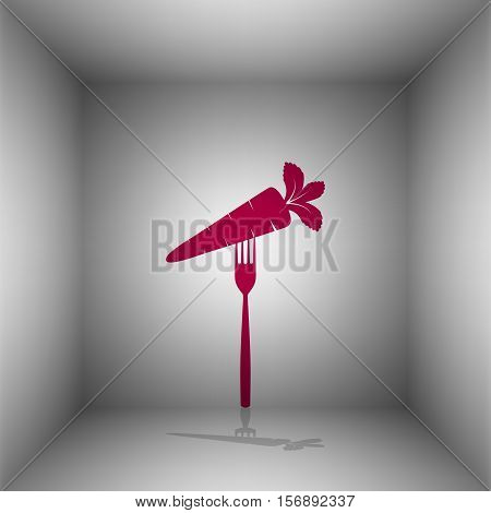 Vegetarian Food Sign Illustration. Bordo Icon With Shadow In The Room.