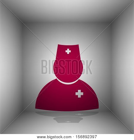 Doctor Sign Illustration. Bordo Icon With Shadow In The Room.