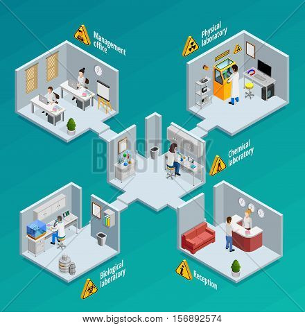 Laboratory concept with physical chemical and biological laboratories isometric vector illustration