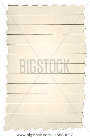 Yellow Lined Paper With Frayed Edges