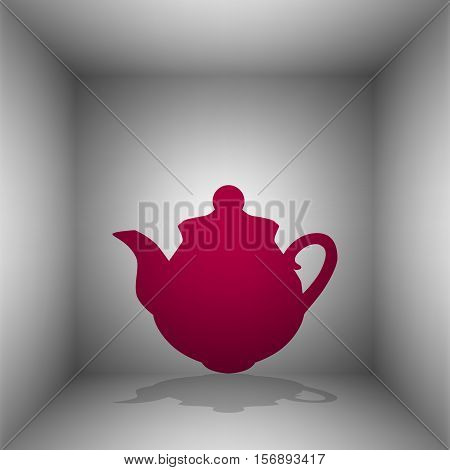 Tea Maker Sign. Bordo Icon With Shadow In The Room.