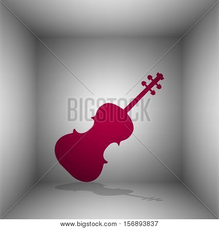 Violine Sign Illustration. Bordo Icon With Shadow In The Room.