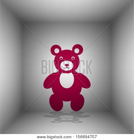 Teddy Bear Sign Illustration. Bordo Icon With Shadow In The Room.
