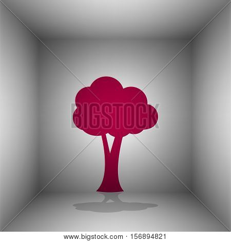 Tree Sign Illustration. Bordo Icon With Shadow In The Room.