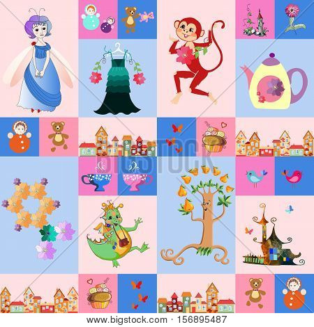 Patchwork for children. Vector fantasy background with a fairy, dragon, monkey, castle, teapot and cups, birds, butterflies, tree, town, toys, cake, dress and flowers. Print for fabric.