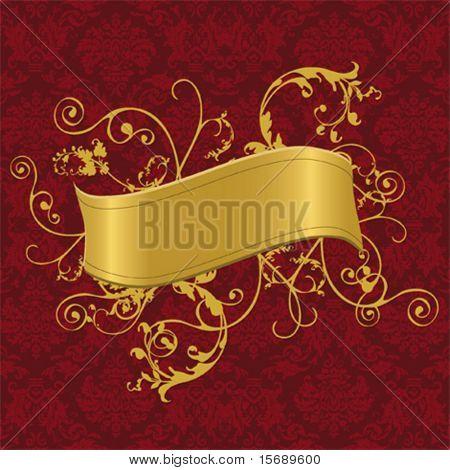 Ilustración del vector de un estandarte de oro con remolinos en un fondo de pantalla barroca