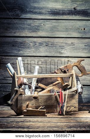 Hammer, Saw And Chisel In The Carpentry Toolbox