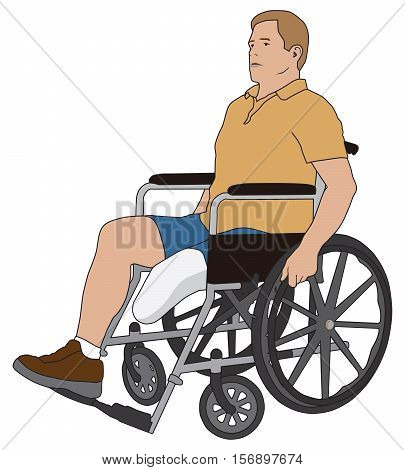 Man with left leg below knee amputation is using a wheelchair