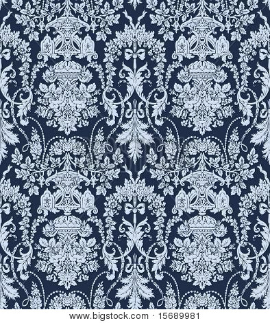 Seamless antique tileable background image in blue