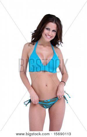 Sexy brunette bikini model on a white background
