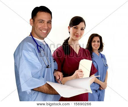 Diverse medical team, isolated on white