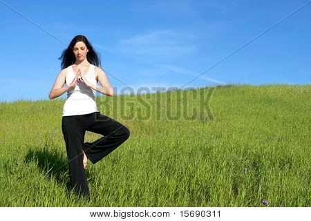 A woman doing yoga in a meadow