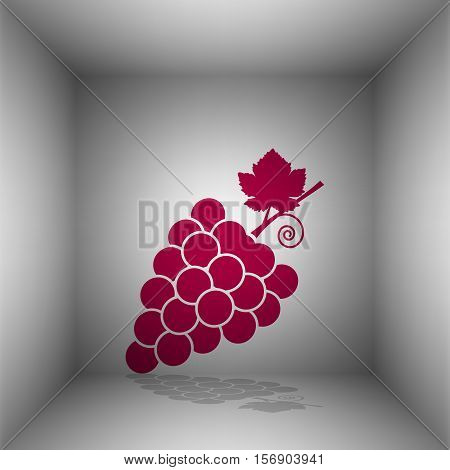 Grapes Sign Illustration. Bordo Icon With Shadow In The Room.