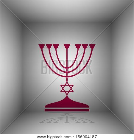 Jewish Menorah Candlestick In Black Silhouette. Bordo Icon With Shadow In The Room.