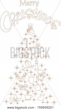 Typography banner with stylized red Christmas tree and hand drawing lettering Merry Christmas on white, stock vector illustration