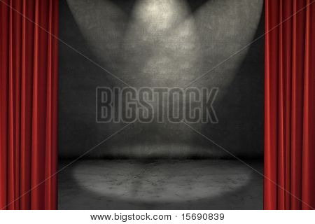 Spotlights shining on a grungy stage, framed with red curtains