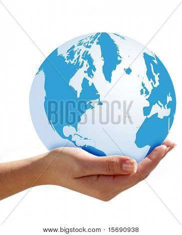 Hand holding the world
