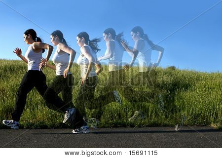 Multiple images of a woman running on a trail, ghosted