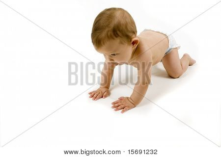 Baby crawling, isolated on white